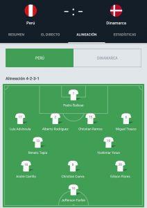 Titular de Perú contra Dinamarca