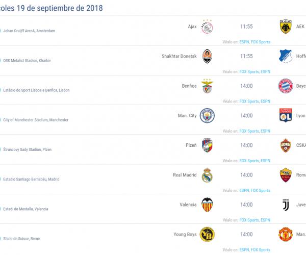 UCL partidos miercoles 19 de septiembre 2018