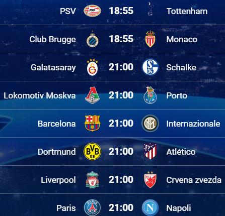 Partidos de Champions hoy miércoles 24 de octubre