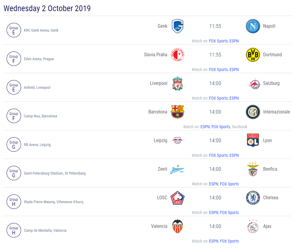 Partidos matchday 2 UCL 2019-2020