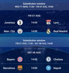 Octavos de Champions League 19/20