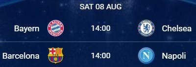 UCL Sábado 8 de agosto